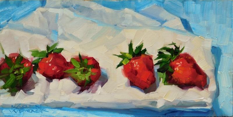 """""""Berries & Blue"""" original fine art by Karen Werner"""