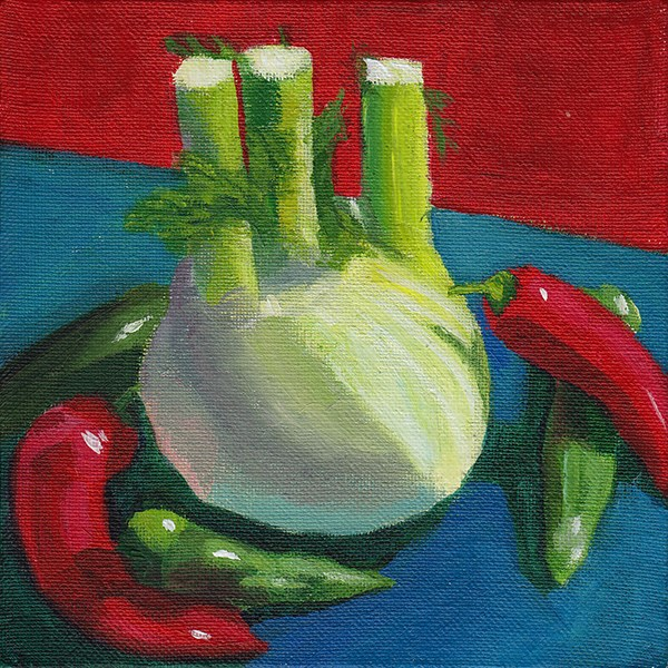"""Fennel and Chilli Peppers"" original fine art by J M Needham"