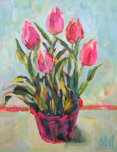 """Tulips 11x14 acrylic on stretched canvas This is one of the few acrylic paintings I have done but there will be more. I loved working with these paints."" original fine art by Mary Sheehan Winn"