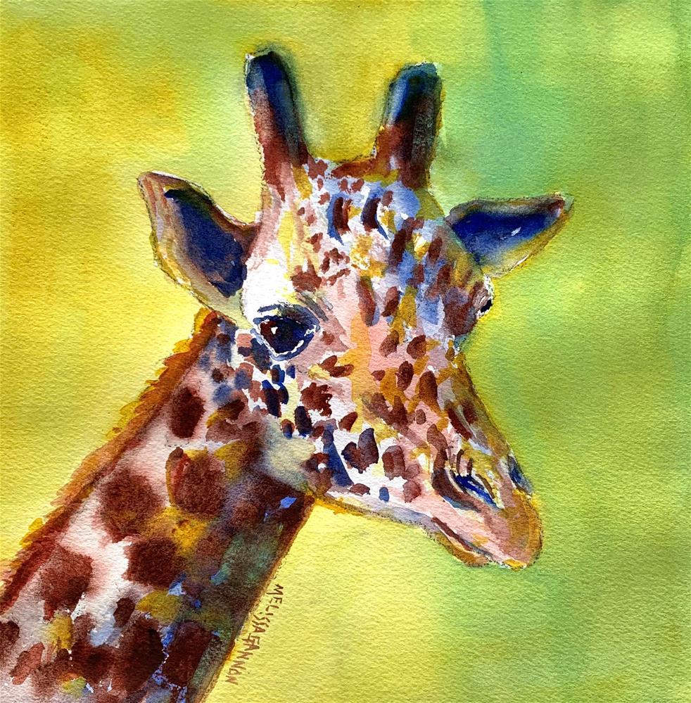 """Giraffe Thinking of Green"" original fine art by Melissa Gannon"