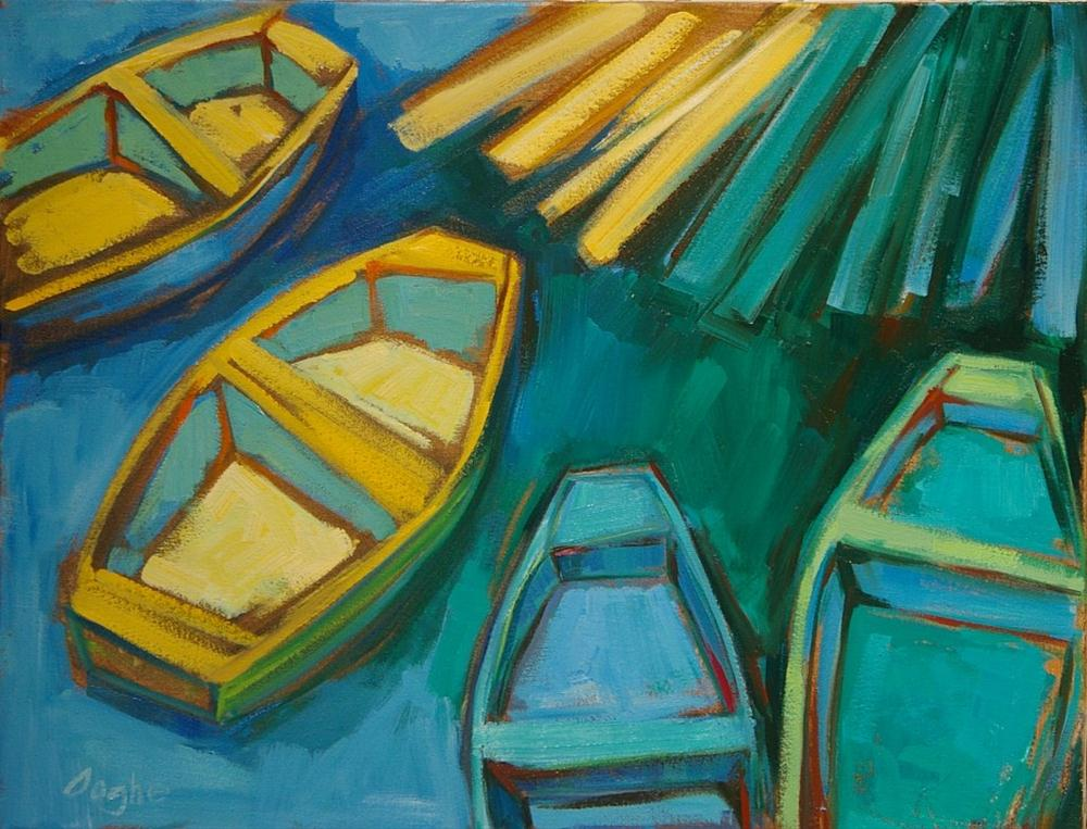 """""""Four Dinghies at the Dock"""" original fine art by Angela Ooghe"""
