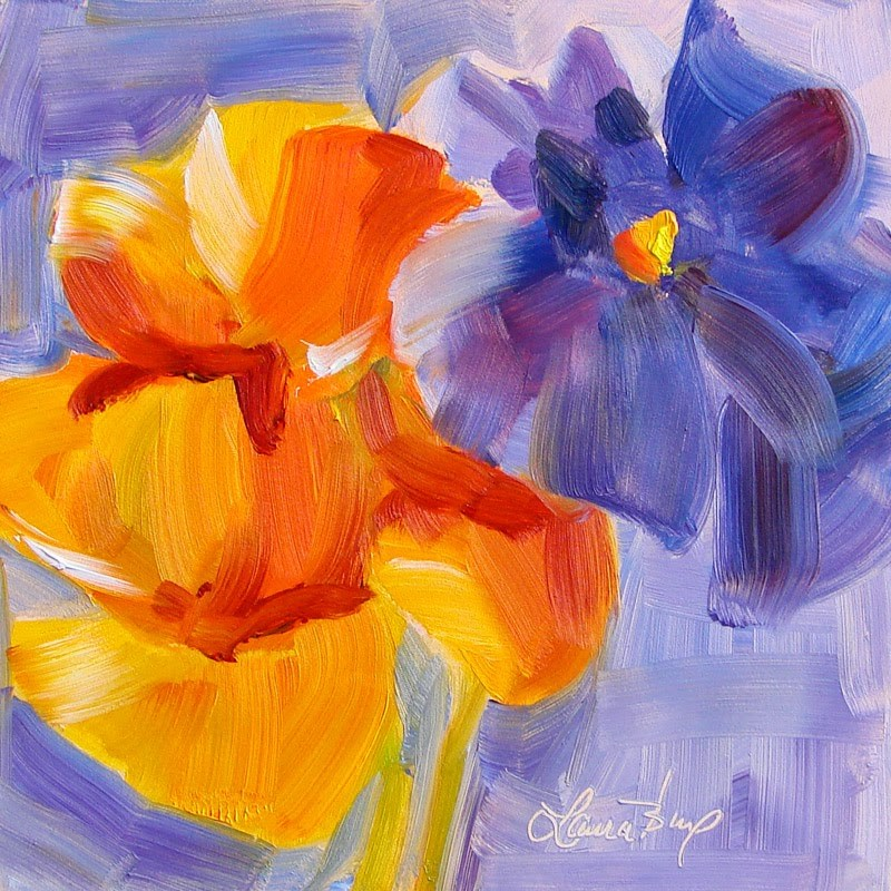 """""""Pansy Abstraction 203"""" original fine art by Laura  Buxo"""