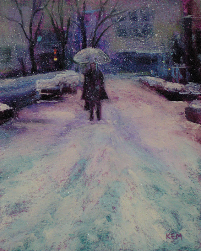 """""""Winter in the City ...Painting Snowflakes in Pastel"""" original fine art by Karen Margulis"""