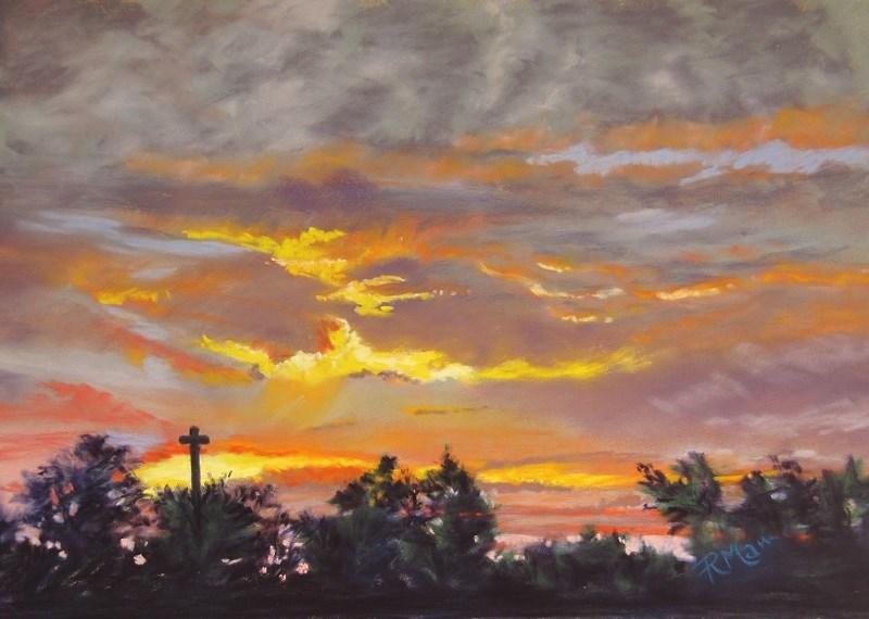 """""""Summer Sunset, Normandy"""" original fine art by Ruth Mann"""
