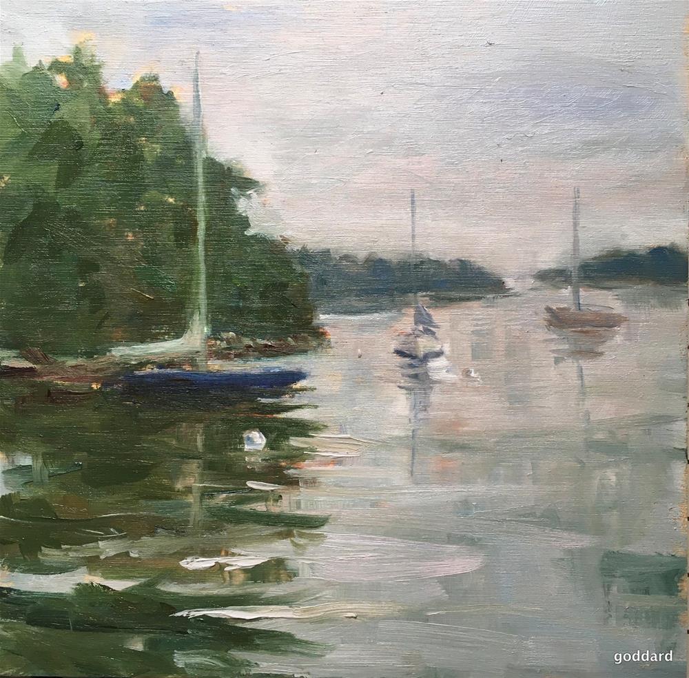 """Rockport Harbor Mist"" original fine art by Shari Goddard Shambaugh"