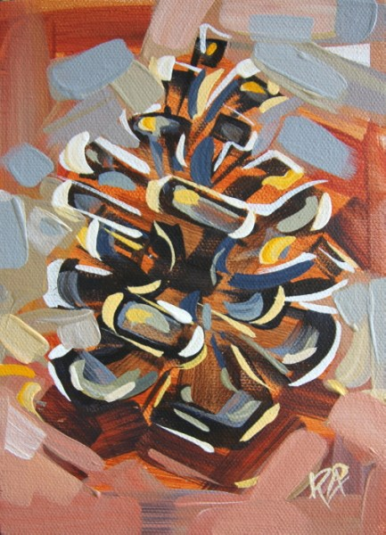 """Pine Cone Abstraction 13"" original fine art by Roger Akesson"