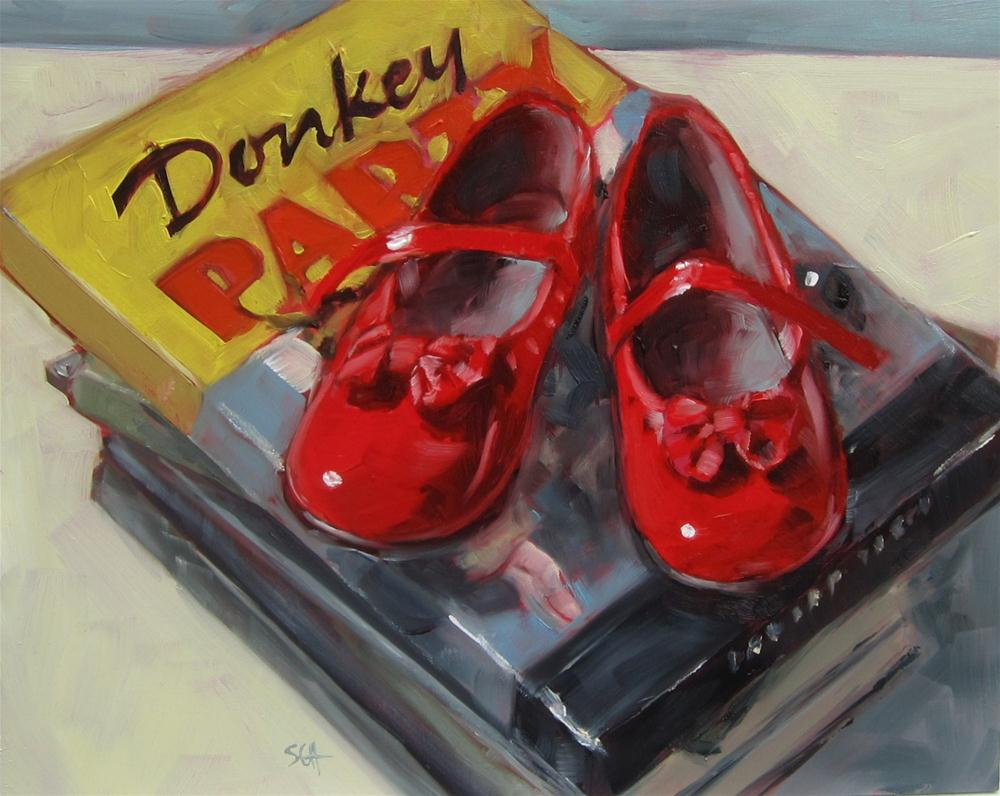 """Donkey Party shoes?"" original fine art by Sandy Haynes"