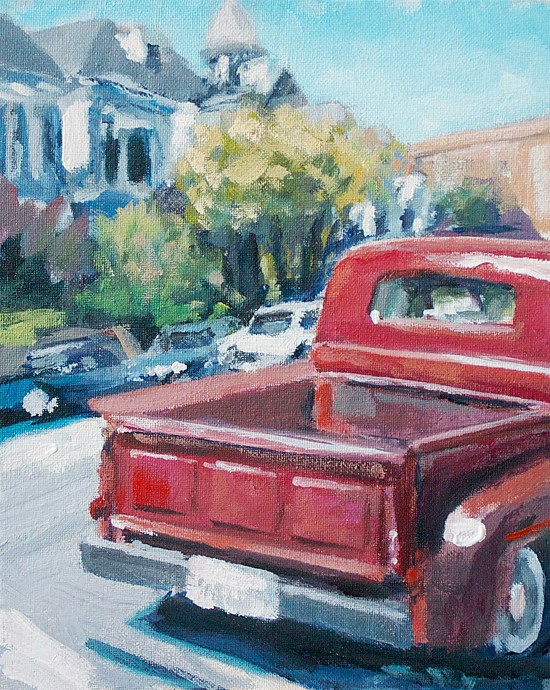 """Red Truck Revisited"" original fine art by J. Farnsworth"
