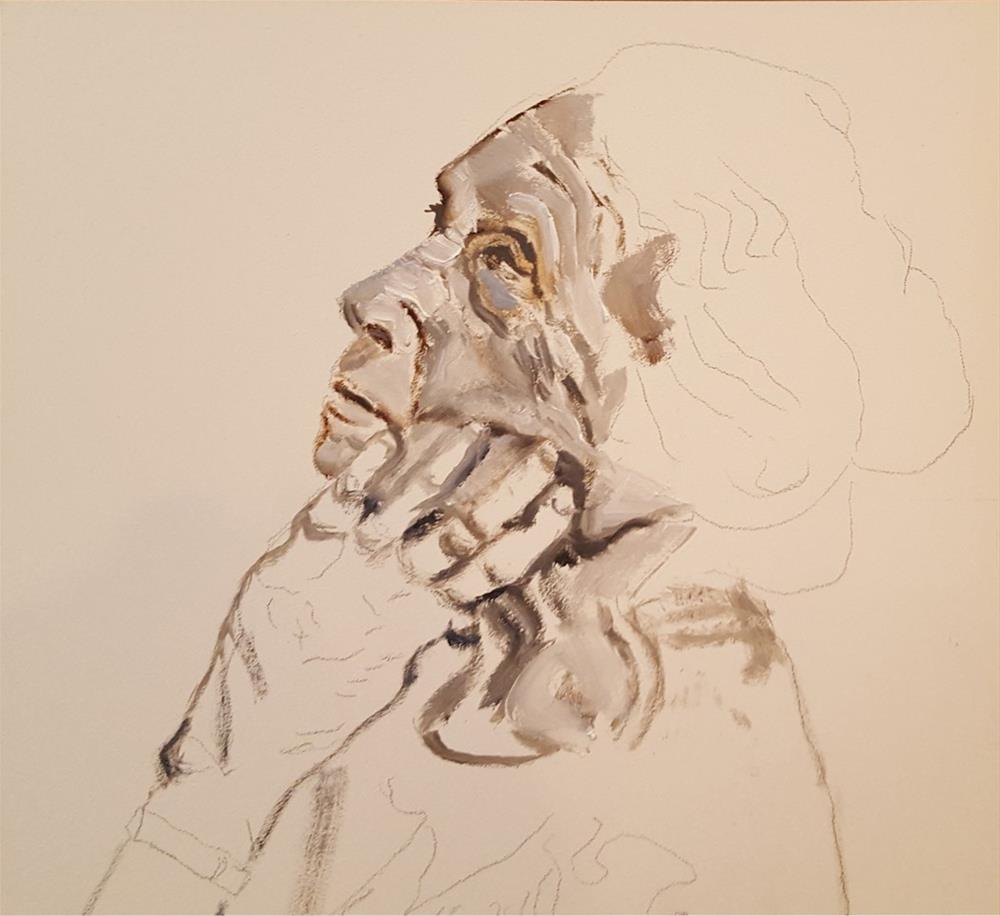 """""""In Your Face Oil Sketch"""" original fine art by Shelley Koopmann"""