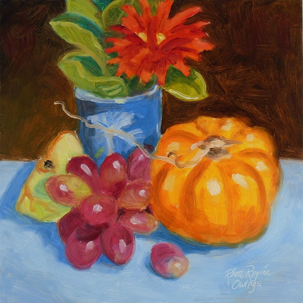 """Little Pumpkin and Grapes"" original fine art by Rhett Regina Owings"