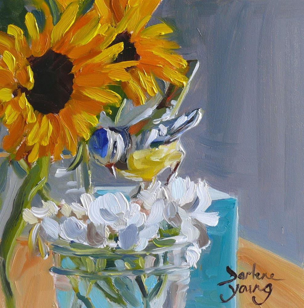 """883 Still Life with Sunflowers and Ceramic Bird, oil on board 6x6"" original fine art by Darlene Young"