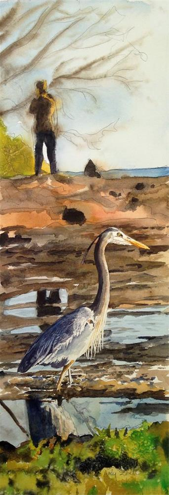 """""""H is for Heron or The Bird Watcher"""" original fine art by Andy Sewell"""