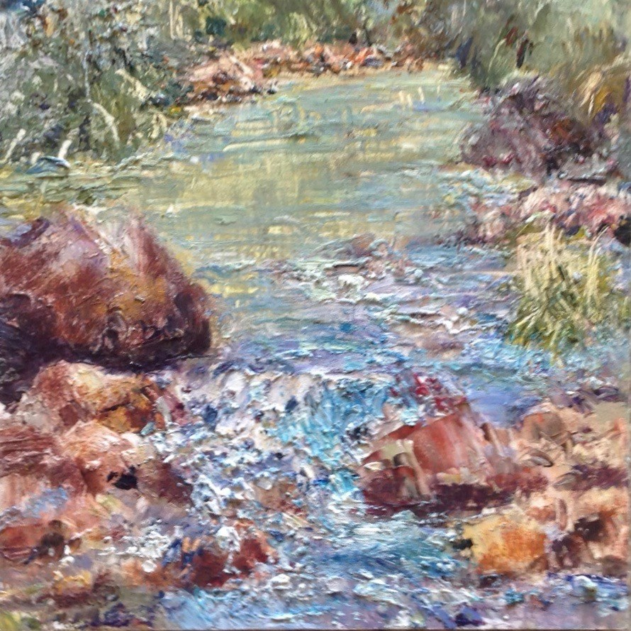"""""""River at LoLoMai Campground"""" original fine art by Judy Usavage"""