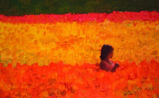 """""""Sea of color  La Connor, tulip festival , figurative oil painting"""" original fine art by Robin Weiss"""