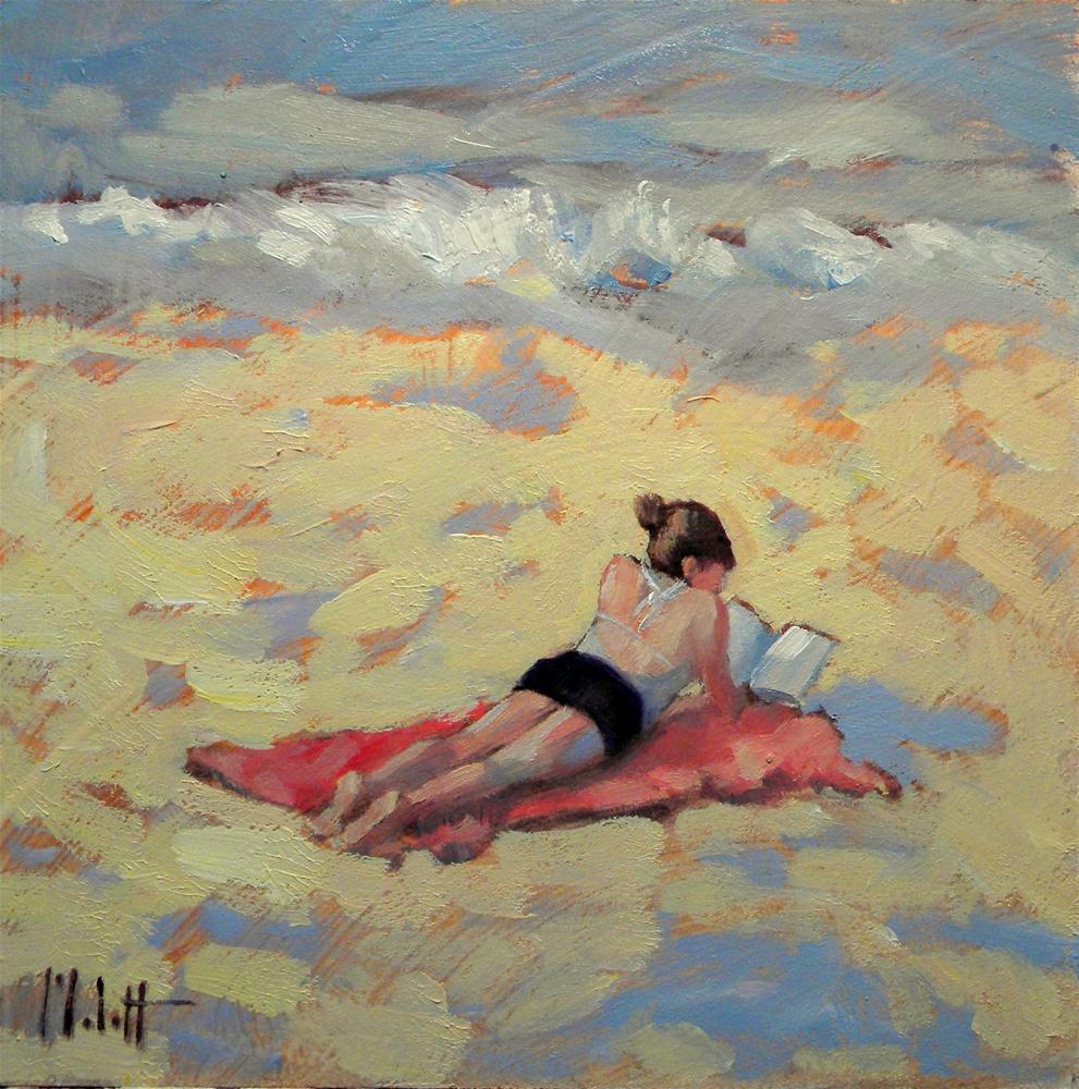 """Spring Break Reading on the Beach Figure Contemporary Impressionism"" original fine art by Heidi Malott"