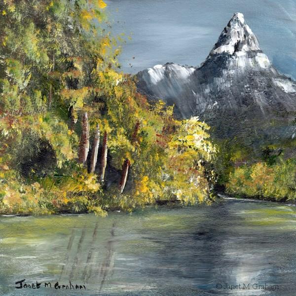 """Snowy  Peak"" original fine art by Janet Graham"