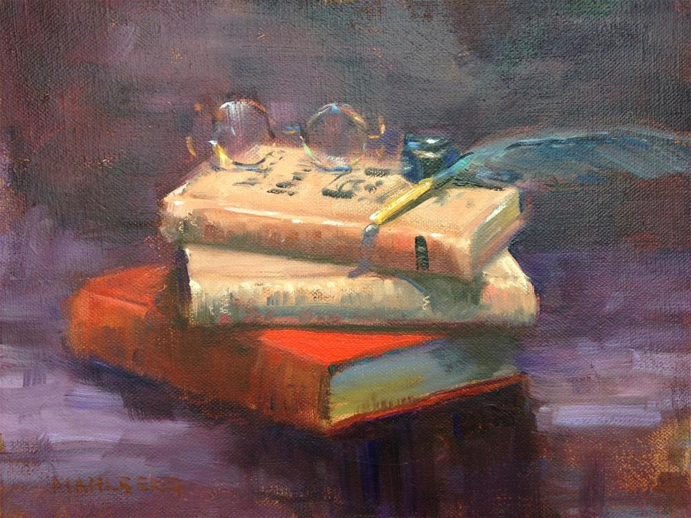 """""""Books and Quill"""" original fine art by Cynthia Mahlberg"""