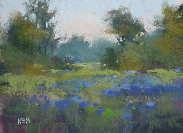 """A Tip for Painting Bluebonnets"" original fine art by Karen Margulis"