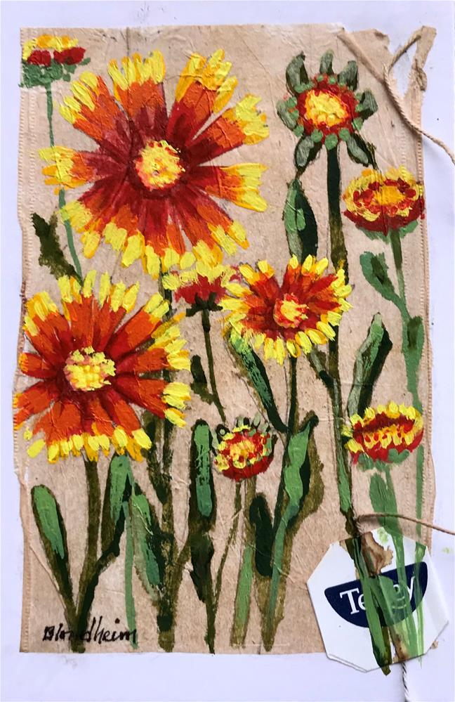 """""""Tea Bag Painting Blanket Flowers"""" original fine art by Linda Blondheim"""