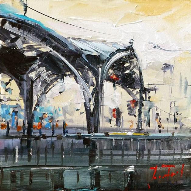 """Köln, Hauptbahnhof"" original fine art by Jurij Frey"