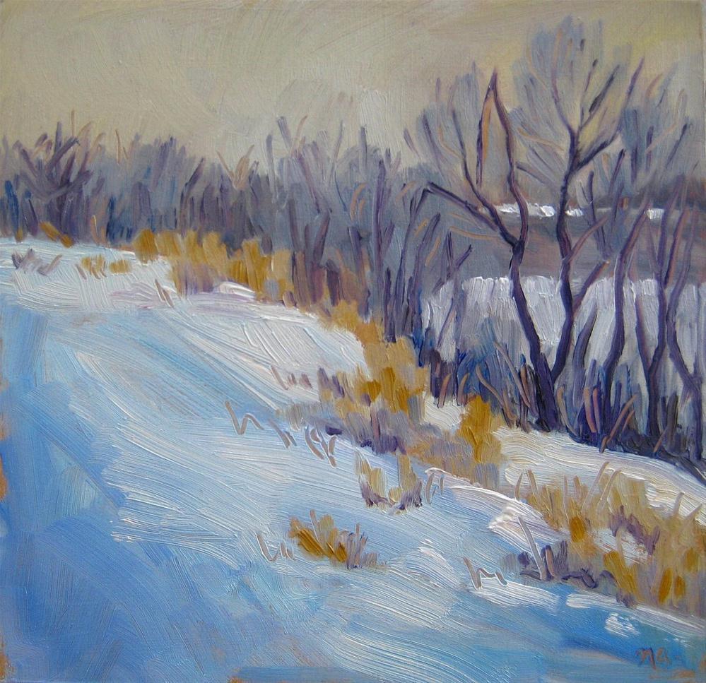 """Foggy Morning at Gabriel Dumont Park"" original fine art by Nicki Ault"