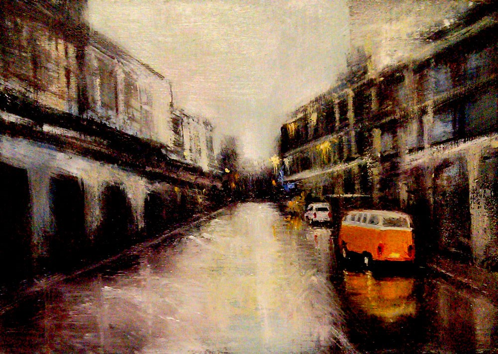 """""""Volkswagon Bus in a Puddle"""" original fine art by Bob Kimball"""