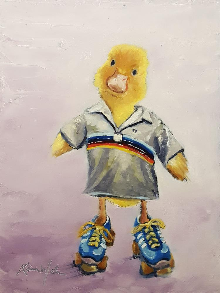 """""""Roller Derby Ducky"""" original fine art by Karen Weber"""