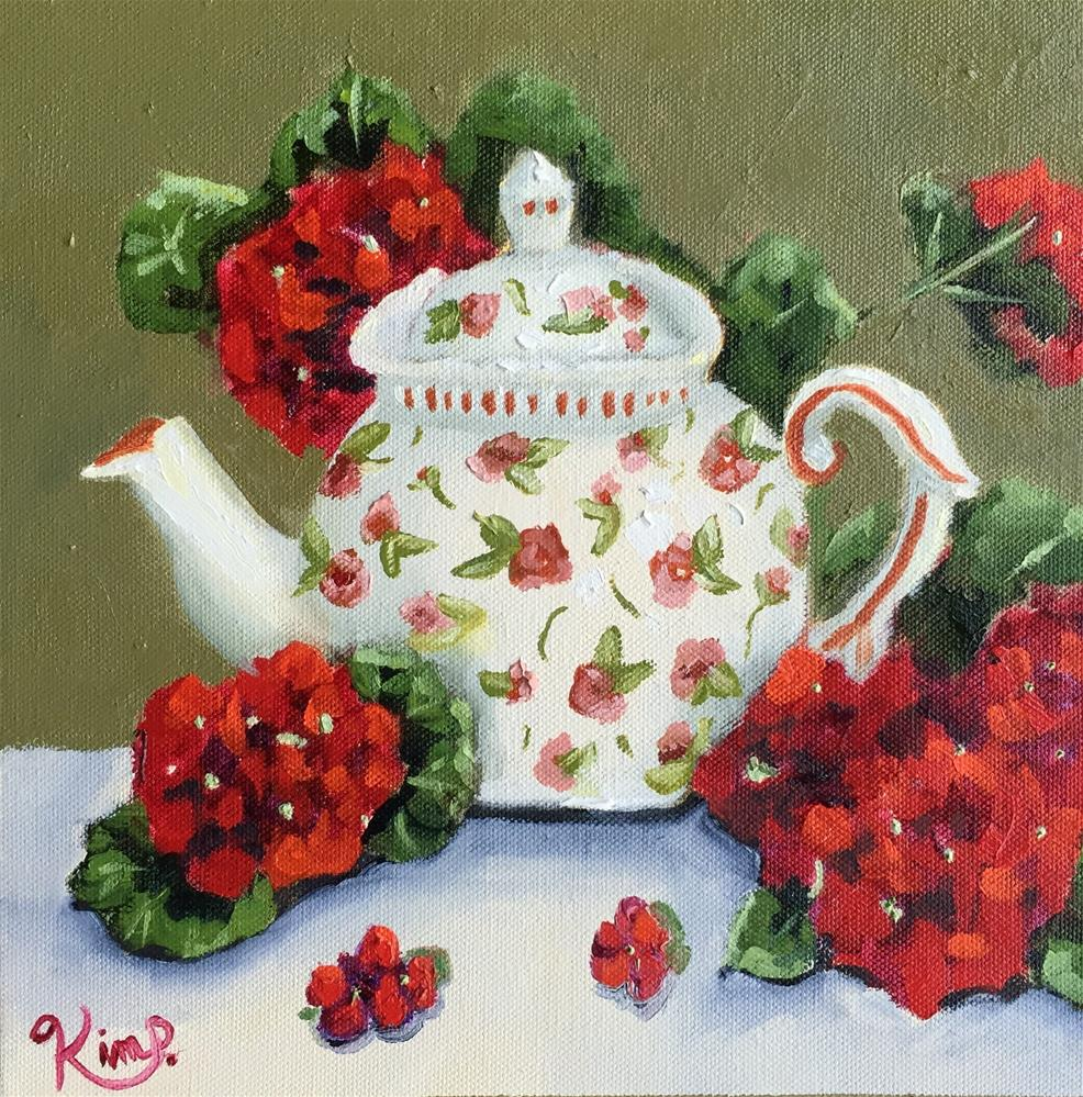 """Red geraniums with teapot "" original fine art by Kim Peterson"