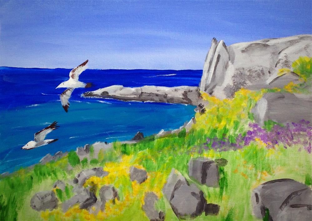 """Cala Rossa Beach"" original fine art by Brenda Smith"