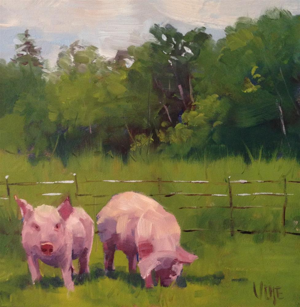 """#118 Pig Heads"" original fine art by Patty Voje"