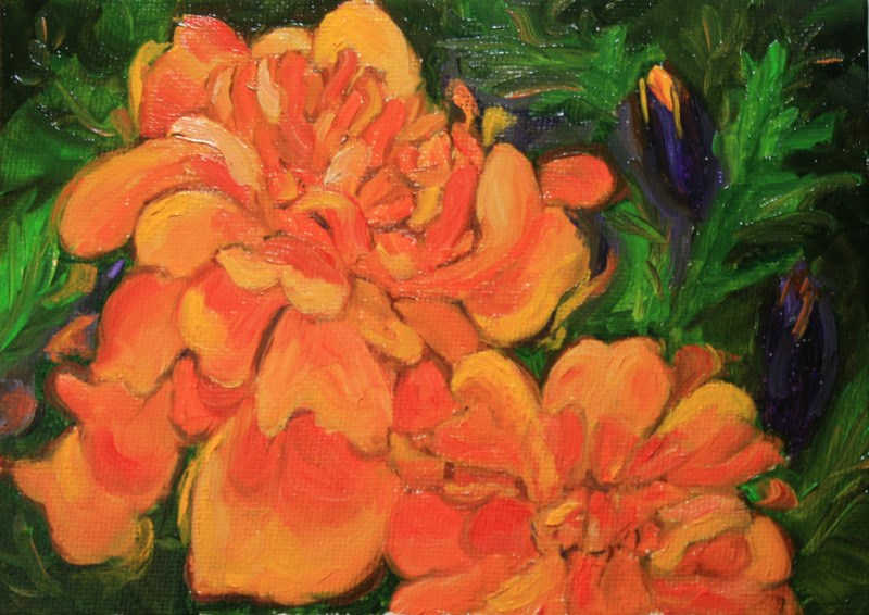 """Marigolds"" original fine art by Jean Nelson"