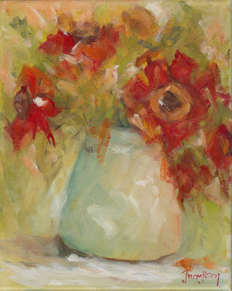 """""""Red Flowers in Vase"""" original fine art by Norma Thompson"""