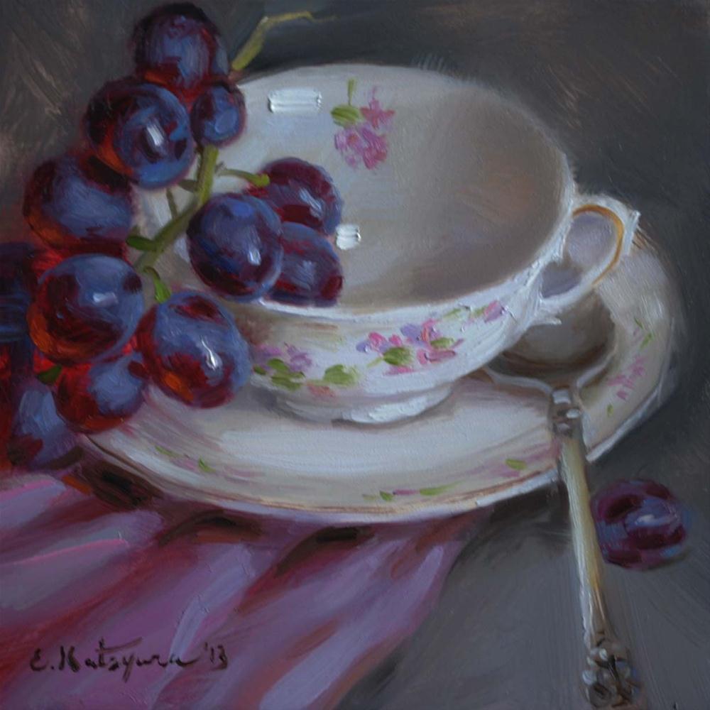 """Cup of Grapes"" original fine art by Elena Katsyura"