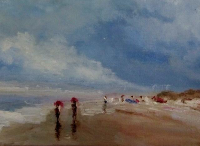 """""""Along the beach"""" original fine art by Astrid Buchhammer"""