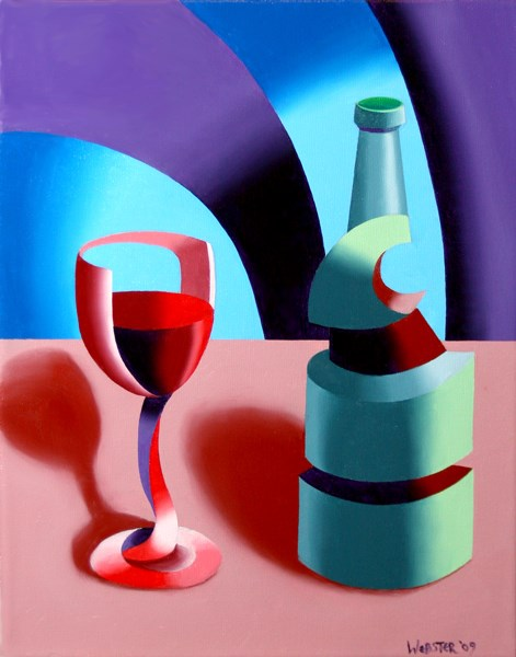 """""""Mark Adam Webster - Abstract Futurist Wine with Bottle Still Life Oil Painting"""" original fine art by Mark Webster"""