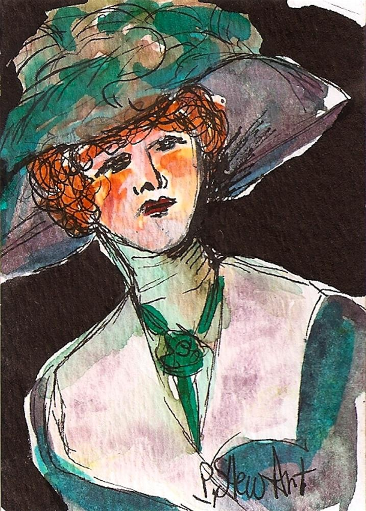 """""""CEO Victorian Lady in a Big Hat Watercolor and Pen, Original Art, not a print"""" original fine art by Penny Lee StewArt"""