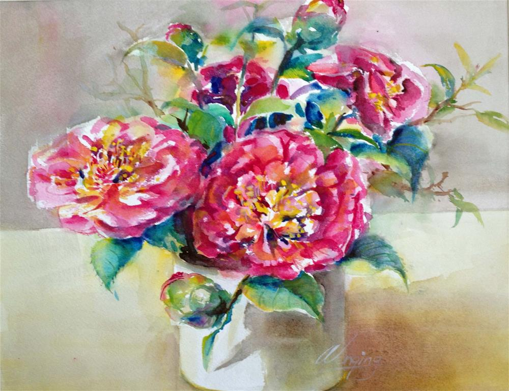 """Camellia flowers"" original fine art by Wenqing Xu"