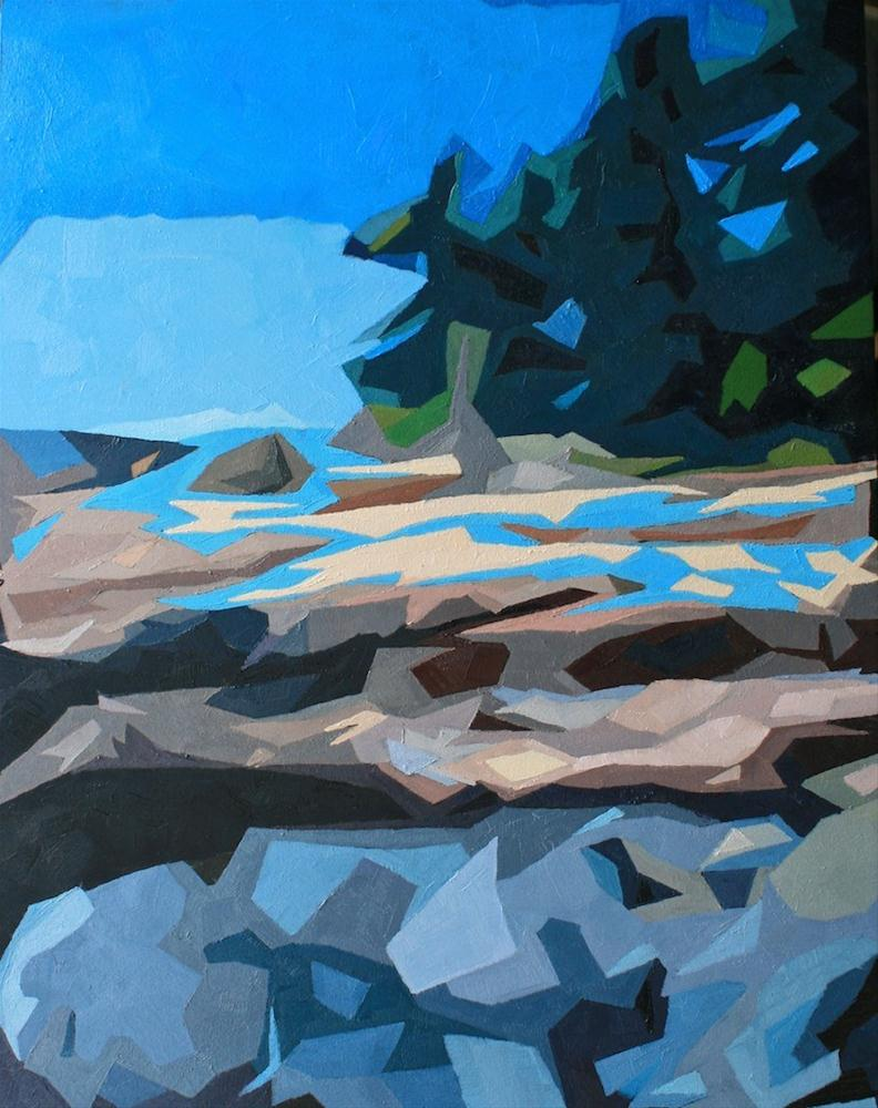 """""""Rocky Coast Deconstructed"""" original fine art by Mary Anne Cary"""