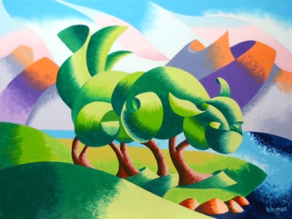 """Mark Webster - Cats Cradle Sunrise - Abstract Geometric Landscape Oil Painting"" original fine art by Mark Webster"