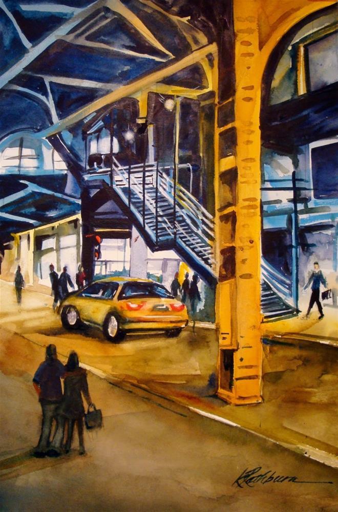 """Under the L - Chicago"" original fine art by Kathy Los-Rathburn"