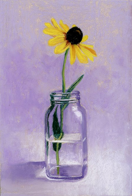 """Black Eyed Susan in a jar pastel painting"" original fine art by Ria Hills"