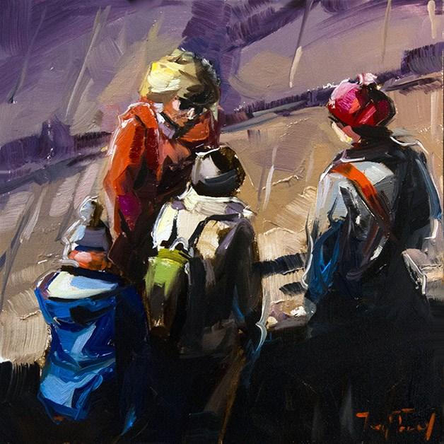 """""""In Schlange Stehende"""" original fine art by Jurij Frey"""