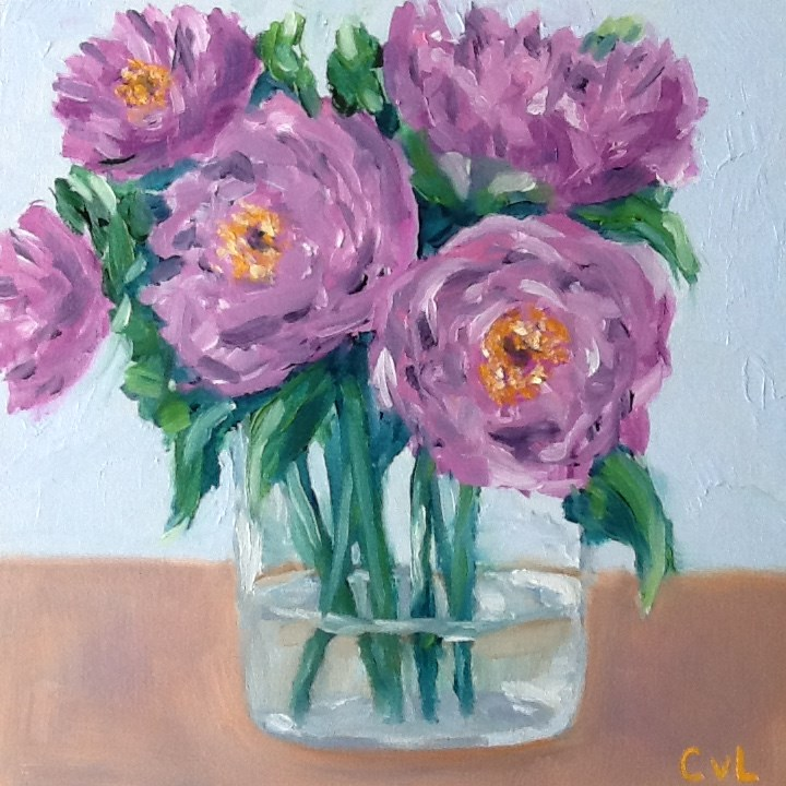 """""""Purple peonies"""" original fine art by Conny van Leeuwen"""