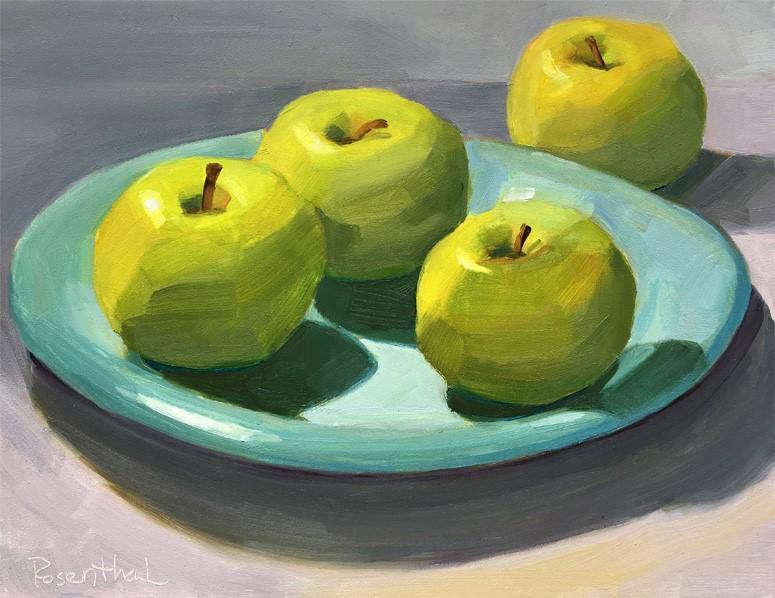 """Green Apples on Blue Plate"" original fine art by Robin Rosenthal"
