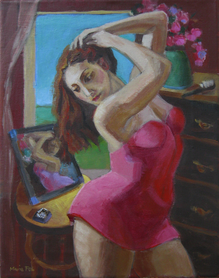"""Mirror, Figurative painting, woman, figure study, contemporary figure painting, figurative artist"" original fine art by Marie Fox"