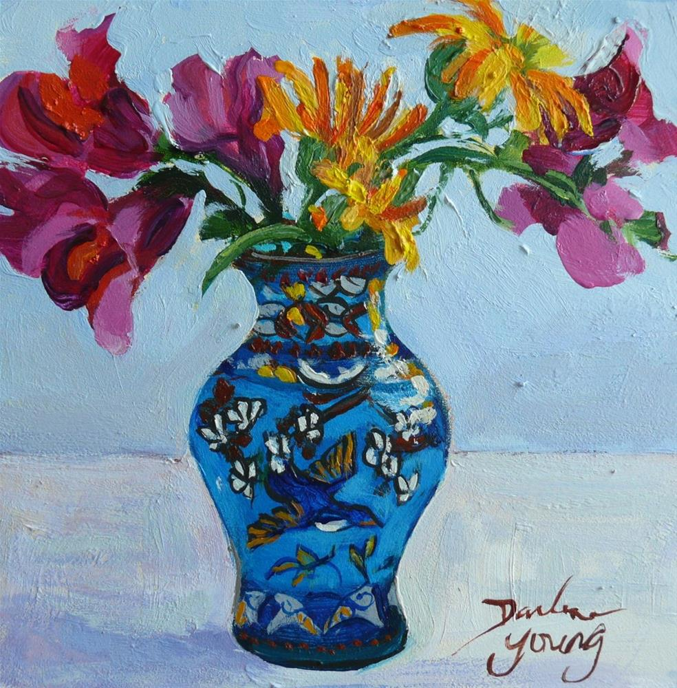 """""""871 Blue Bird Vase With Snapdragons and Calendulas, oil on board, 6x6"""" original fine art by Darlene Young"""