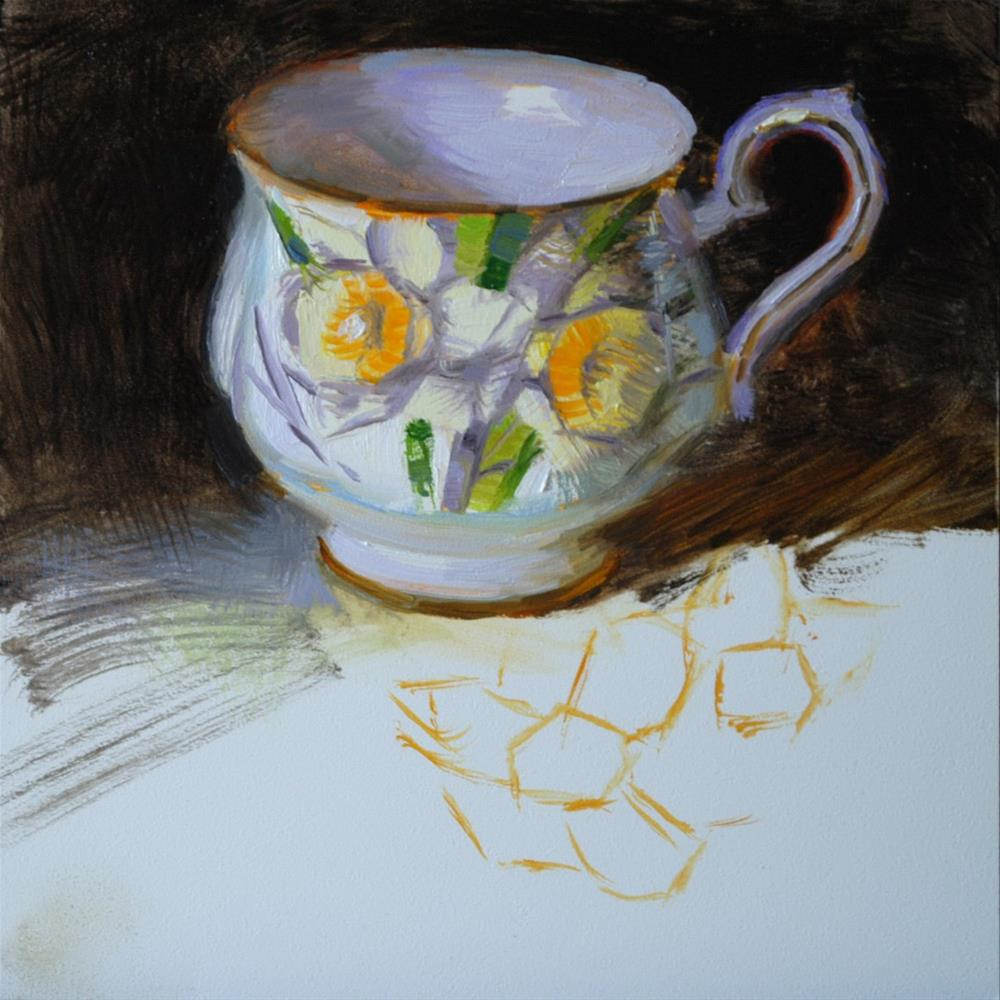 """Daffodil Teacup - Unfinished"" original fine art by Elena Katsyura"