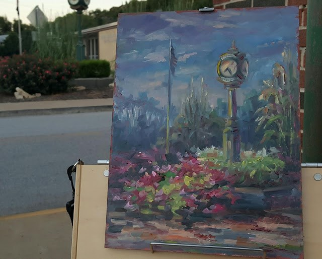 """Twilight on the Clock Tower"" original fine art by Tammie Dickerson"