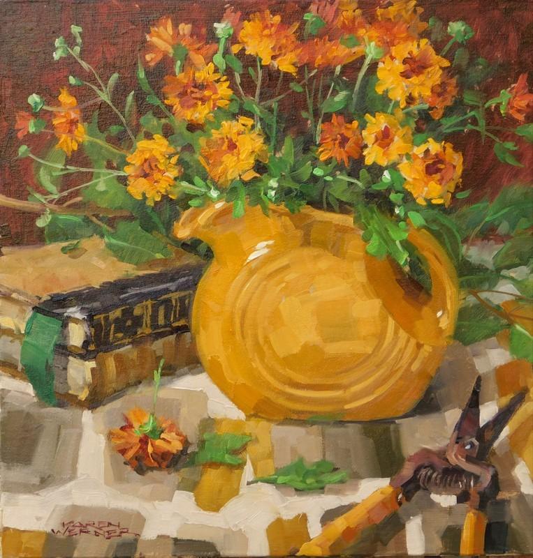 """""""Mum Fiesta"""" original fine art by Karen Werner"""