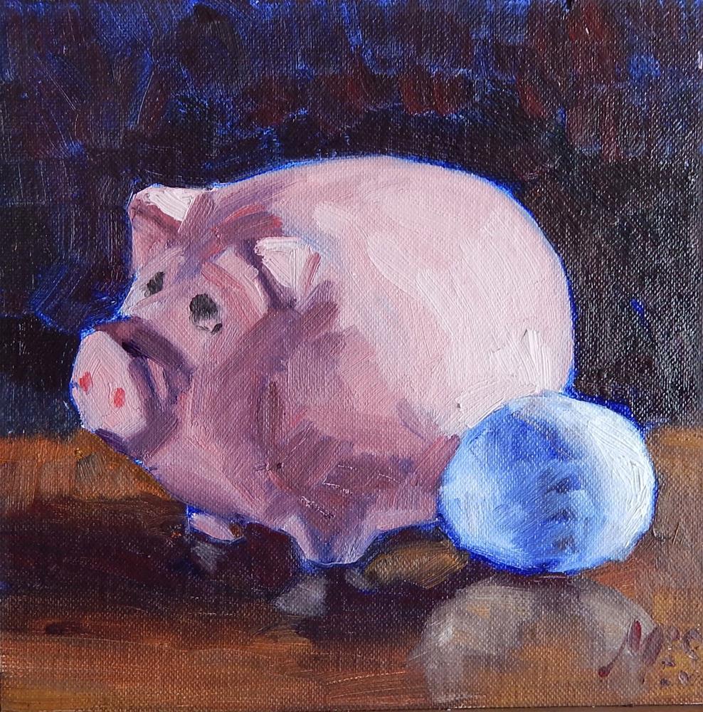 """Pink Piggy Bank With Egg"" original fine art by Megan Schembre"